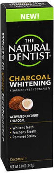 The Natural Dentist Charcoal Whitening Fluoride-Free Toothpaste Cocomint - 5 oz
