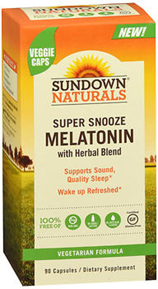 Sundown Naturals Super Snooze Melatonin with Herbal Blend Capsules - 90 ct