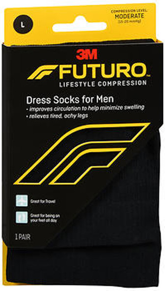 Futuro Revitalizing Dress Socks for Men Moderate Compression Large Black - 1 pr