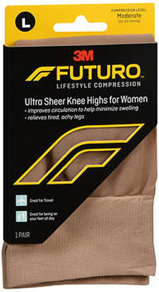 Futuro Revitalizing Ultra Sheer Knee Highs for Women Large Nude Moderate Compression - 1 Pair