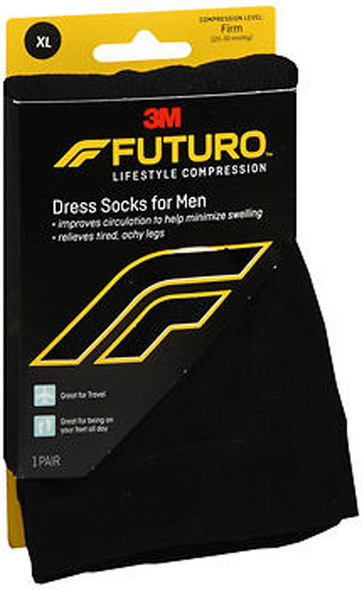 Futuro Restoring Dress Socks for Men Over the Calf X-Large Black Firm - 1 pr