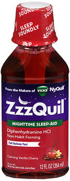 ZzzQuil Nighttime Sleep-Aid Liquid Calming Vanilla Cherry - 12 oz