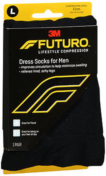 Futuro Restoring Dress Socks For Men Over the Calf Large Black Firm - 1 pr
