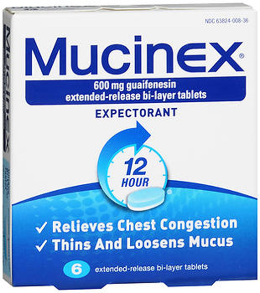 Mucinex Expectorant Extended-Release Bi-Layer Tablets - 6 ct.