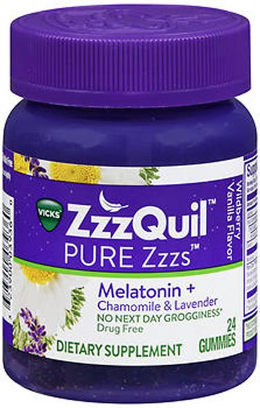 ZzzQuil Pure Zzzs Melatonin + Chamomile & Lavender Gummies Wildberry Vanilla Flavor - 24 ct
