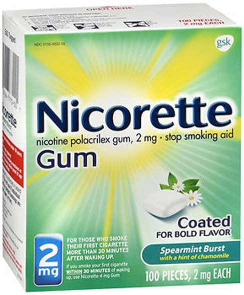 Nicorette Gum 2 mg Spearmint Burst with a Hint of Chamomile - 100 ct
