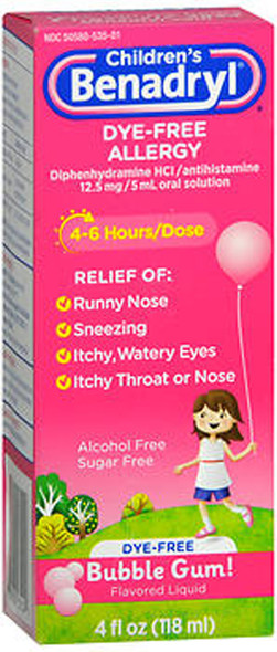 Benadryl Children's Dye-Free Allergy Liquid Bubble Gum Flavored - 4 oz