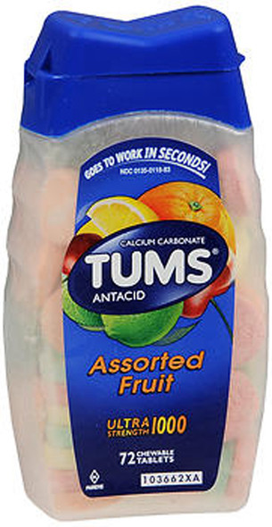 Tums Ultra Strength 1000 Chewable Tablets Assorted Fruit - 72 ct
