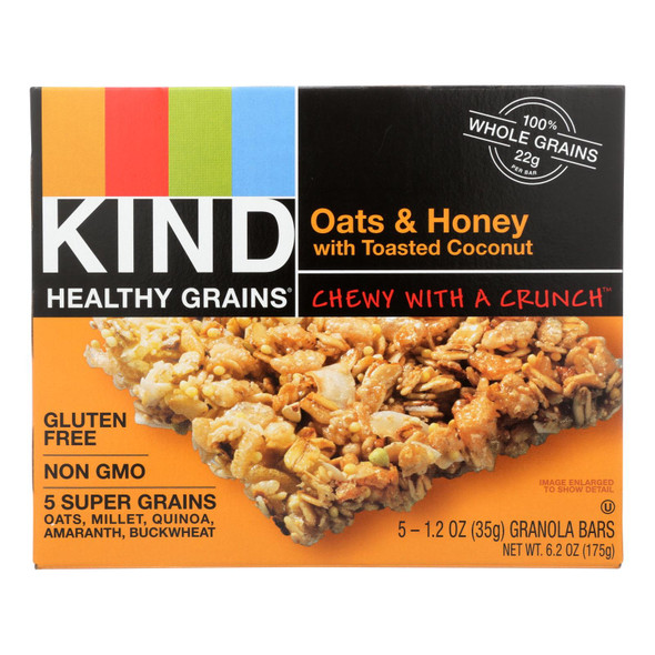 Kind Bar - Granola - Healthy Grains - Oats And Honey With Toasted Coconut - 1.2 Oz - 5 Count - Case Of 8