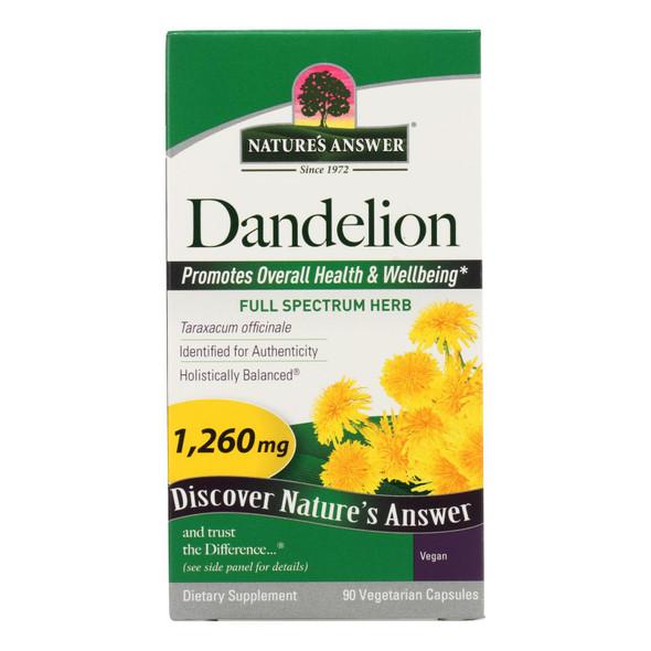 Nature's Answer Dandelion Root - 90 Vegetarian Capsules