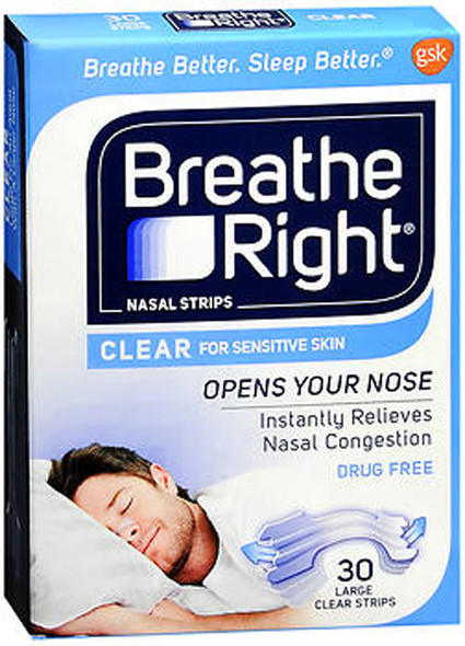 Breathe Right Nasal Strips Clear for Sensitive Skin Large - 30 Strips