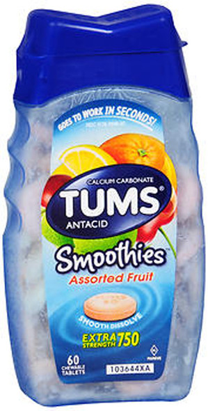 Tums Smoothies Extra Strength 750 Chewable Tablets Assorted Fruit - 60 ct