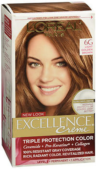 L'Oreal Excellence Triple Protection Permanent Hair Color Creme Light Golden Brown (Warmer)