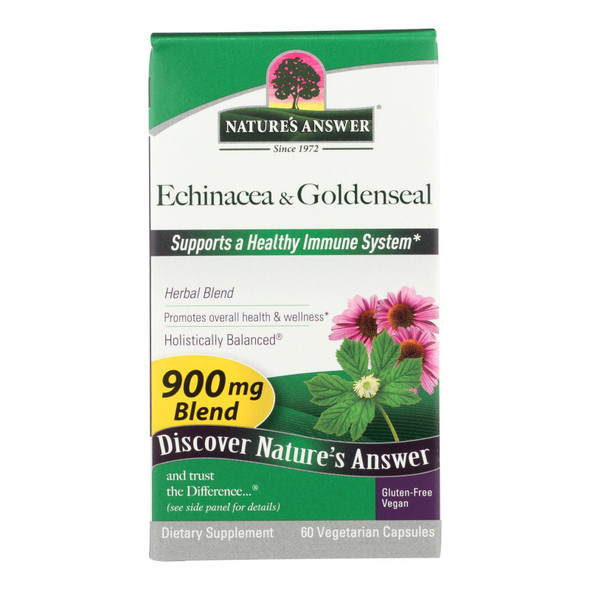 Nature's Answer Echinacea And Goldenseal Root - 60 Vegetarian Capsules