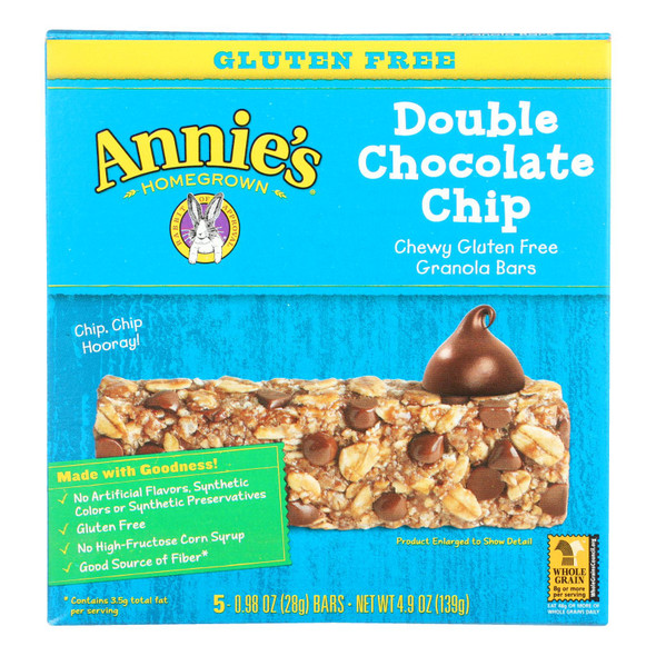 Annie's Homegrown Gluten Free Granola Bars Double Chocolate Chip - Case Of 12 - 4.9 Oz.