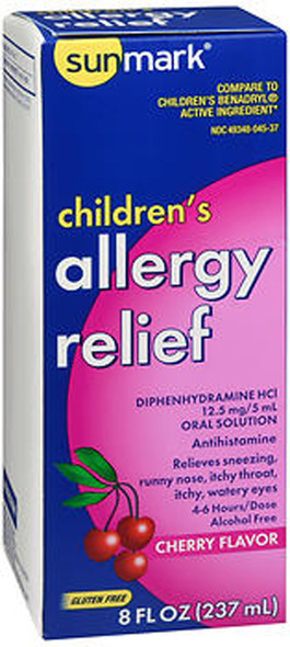 Sunmark Allergy Relief Liquid Cherry - 8 oz