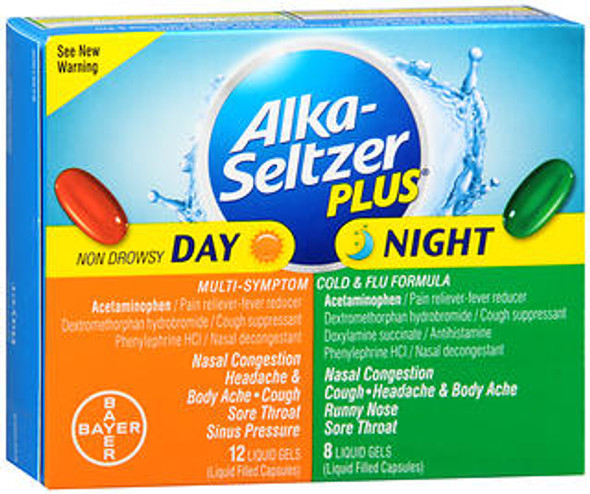Alka-Seltzer Plus Multi-Symptom Cold & Flu Formula Liquid Gels Day & Night - 20 ct