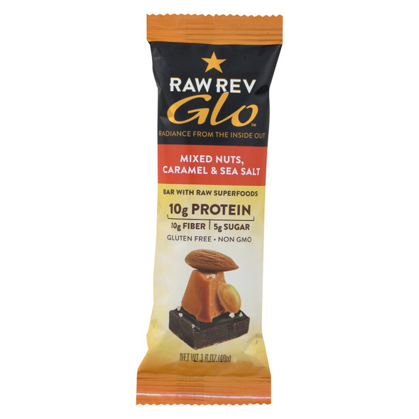 Raw Revolution Glo Bar - Mixed Nuts - Caramel And Sea Salt - 1.6 Oz - Case Of 12