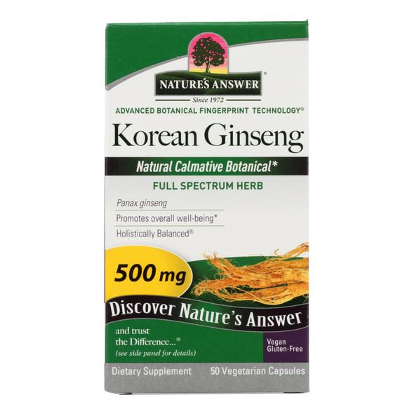 Nature's Answer Korean Ginseng Root - 50 Vegetarian Capsules