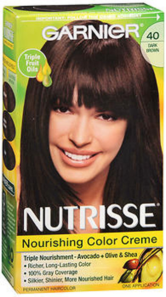 Garnier Nutrisse Nourishing Color Creme Permanent Haircolor 40 Dark Chocolate (Dark Brown)