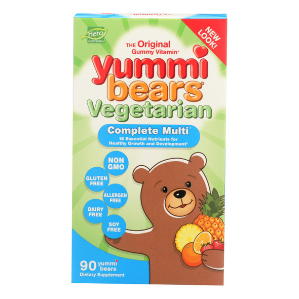 Hero Nutritionals Yummi Bears Multi-vitamin And Mineral Vegetarian Fruit - 90 Gummy Bears