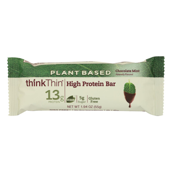 Think! Thin Plant Based Protein Bar - Chocolate Mint - Case Of 10 - 1.94 Oz