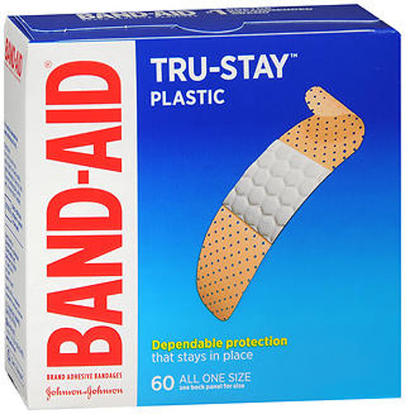 Band-Aid Plastic Strips Bandages All One Size - 60 ct