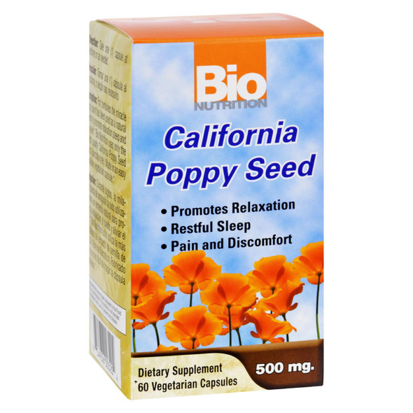 Bio Nutrition California Poppy Seed - 500 Mg - 60 Vegetarian Capsules