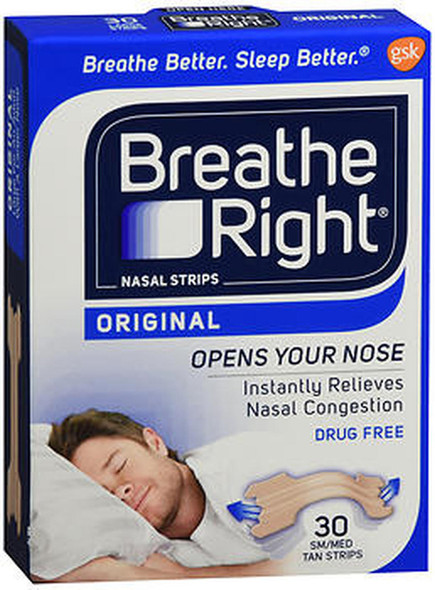 Breathe Right Nasal Strips Original Tan Small/Medium - 30 ct