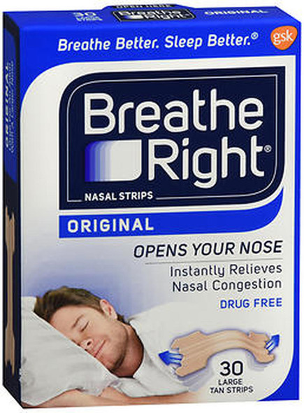 Breathe Right Nasal Strips Original Tan Large - 30 ct