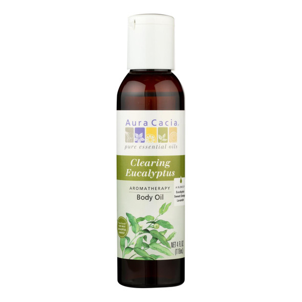 Aura Cacia Aromatherapy Bath Body And Massage Oil Eucalyptus Harvest - 4 Fl Oz