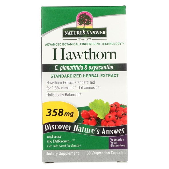Nature's Answer Hawthorn Leaf Extract - 60 Vegetarian Capsules