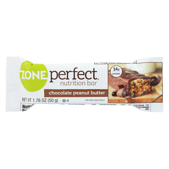 Zone Nutrition Bar - Chocolate Peanut Butter - Case Of 12 - 1.76 Oz