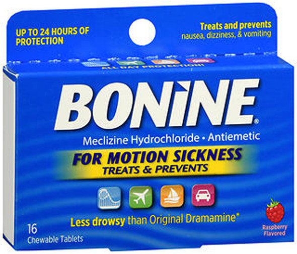 Bonine Motion Sickness Protection, Chewable Tablets, Raspberry - 16 ea.