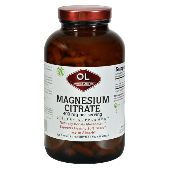 Olympian Labs Magnesium Citrate - 400 Mg - Value Size - 300 Capsules