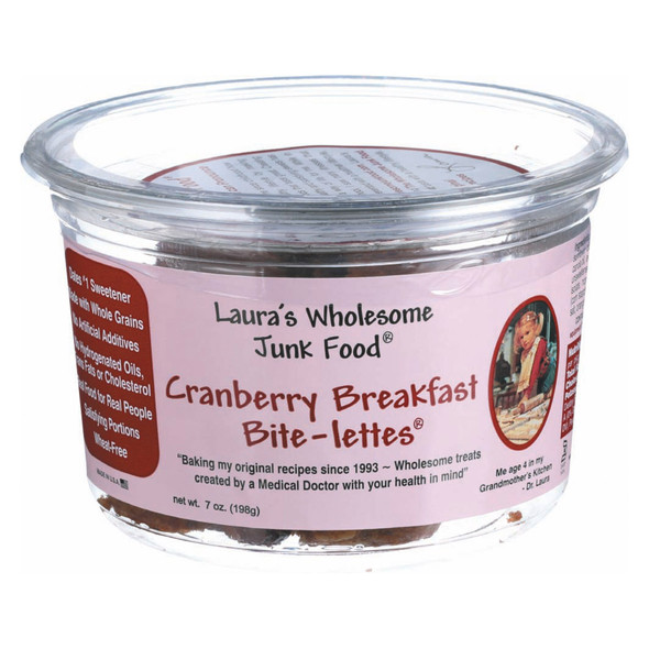 Laura's Wholesome Junk Food Cranberry Bite-lettes Breakfast - Case Of 6 - 7 Oz