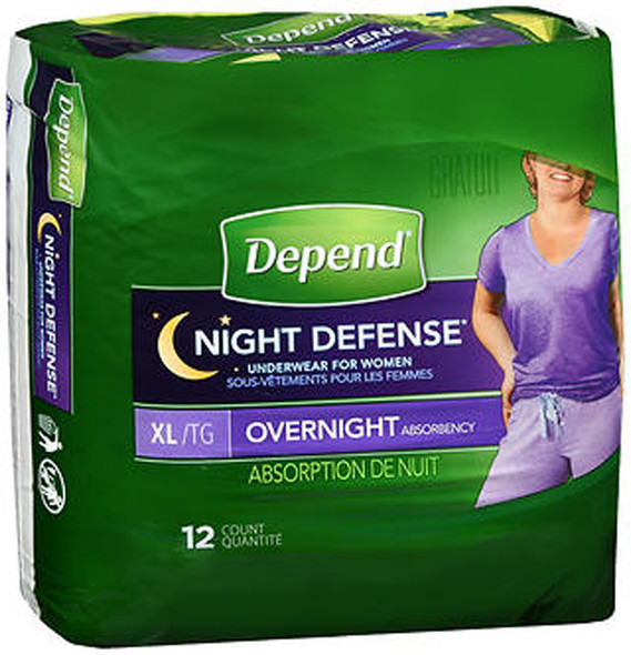 Depend Night Defense Underwear for Women Overnight Absorbency Size XL - 2 Packs of 12 ct