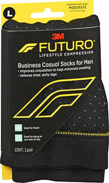 Futuro Lifestyle Compression Business Casual Socks for Men Moderate Large Black 71046EN