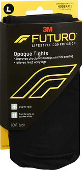 Futuro Lifestyle Compression Opaque Tights Moderate Large Black 71071EN
