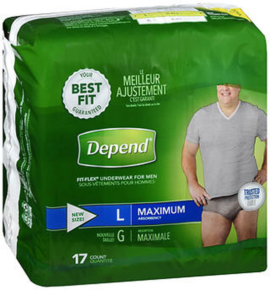 Depend Fit-Flex Underwear for Men Large Maximum Absorbency - 2 pks of 17 ct