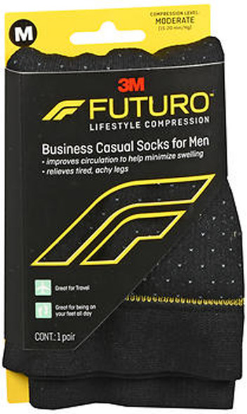 Futuro Lifestyle Compression Business Casual Socks for Men Moderate Medium Black 71045EN