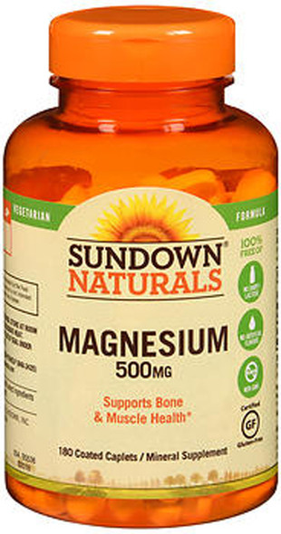 Sundown Naturals Magnesium 500 mg Coated Caplets/Mineral Supplement - 180 ct
