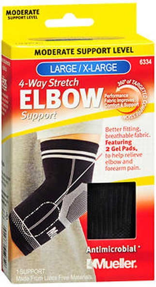 Mueller 4-Way Stretch Elbow Support Moderate Support Black Large/X-Large 6334 - 1 ea.