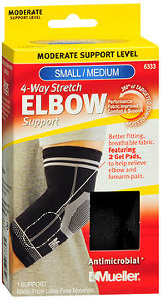 Mueller 4-Way Stretch Elbow Support Moderate Support Black Small/Medium 6333 - 1 ea.