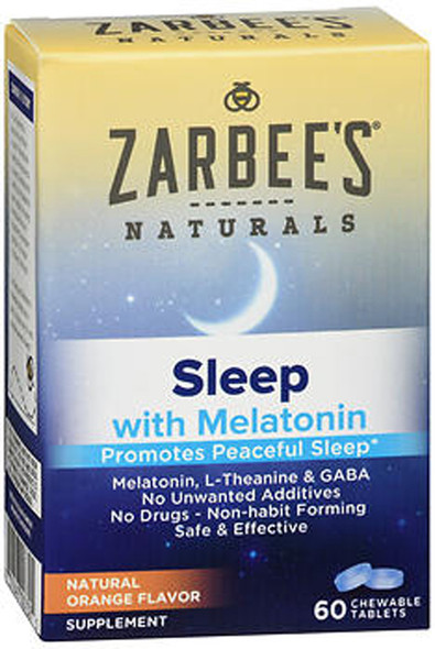 Zarbee's Naturals Sleep with Melatonin Chewable Tablets Natural Orange Flavor - 60 ct