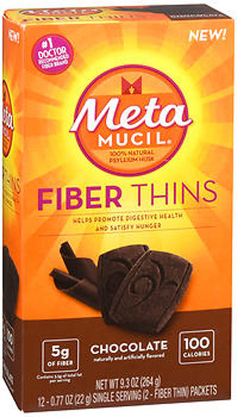 Meta Mucil Fiber Thins Chocolate - 24 ct