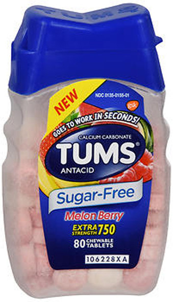 TUMS Extra Strength 750 Antacid Chewable Tablets Sugar-Free Melon Berry - 80 ct