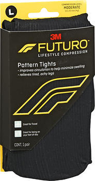 Futuro Lifestyle Compression Pattern Tights Moderate Large Black 71073EN