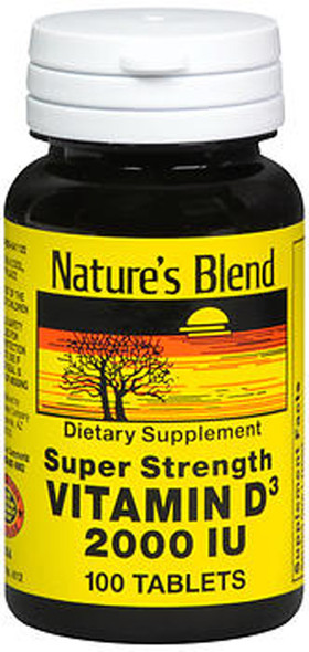 Nature's Blend Vitamin D3 2000 IU Super Strength - 100 Tablets
