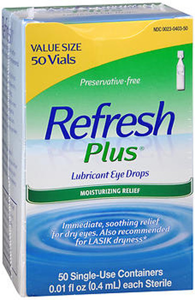 Refresh Plus Lubricant Eye Drops Single-Use Containers Sensitive - 50 ct